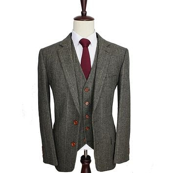 Custom Made Dark Green Herringbone Men Suits Slim Fit Wedding Suit Men's Tailor Made Suit(Jacket+Pants+Vest)