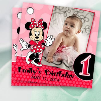 Printable Red and Pink Minnie Mouse Birthday Custom Photo Favor Tags 2x2