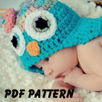 PDF Pattern for Crochet Owl Hat with awake eyes, file sent via email. Finished size fits newborn to 3 months.