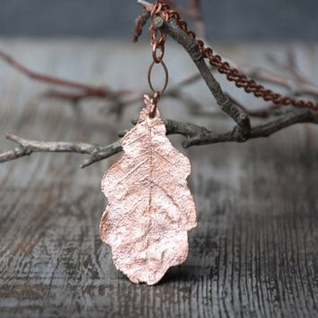 small oak leaf pendant gift for her cute copper necklace electroplated nature jewelry womens gift botanical necklace