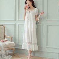 Women's long nightgown royal vintage lace decoration sleepwear white princess loose cotton nightgown lounge sexy sleepshirt