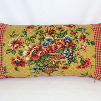 Waverly Flower Basket Pillow in Saison de Printemps Saffron, Reversible Red & Gold Gingham Check, 10 x 20 rectangle lumbar, Insert  Included