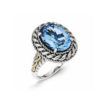 Sterling Silver w/14k Gold Antiqued Blue Topaz Ring