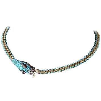 Antique English Turquoise, Diamond, Ruby and Gold Serpent Necklace