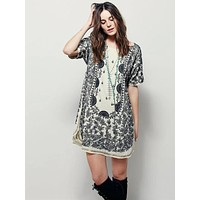 Fashion Retro Print Sequin Decoration Short Sleeve Mini Dress