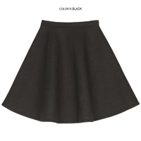Simple Colored Full Flare Skirt