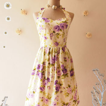 Purple Floral Tea Dress Purple Floral Dress Vintage Inspired Floral Tea Dress Romantic Party Prom Dress Floral Bridesmaid Dress -Size S,M,L