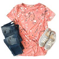 Coral Paint Splatter Knotted Top