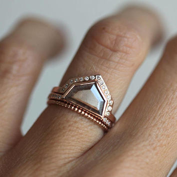 Natural Rose Cut Diamond Set, Geometric Engagement Ring, Grey Diamond Ring, Rose gold Diamond Set, Rose Gold Diamond Engagement Ring Set