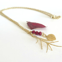 Dainty Gold Necklace / Spiky Pine Leaf Necklace / Leaf Necklace / Nature Inspired / Autumn Necklace / Cabin Fever Collection