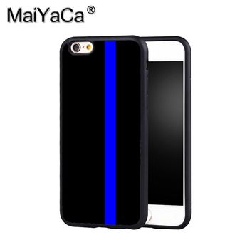 MaiYaCa THIN BLUE LINE Police Phone Case Cover For Iphone X 8 6 6S Plus 7 7 Plus 5 5S 5C 4S SE Mobile Soft Rubber Case