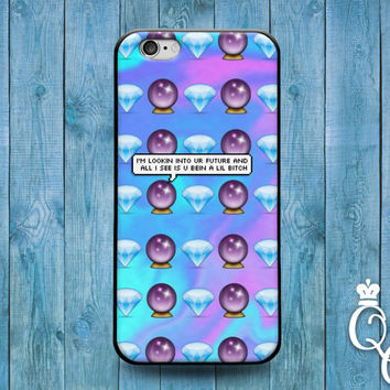 iPhone 4 4s 5 5s 5c 6 6s plus iPod Touch 4th 5th 6th Generation Cute Custom Emoji Phone Cover Cool Purple Crystal Ball Fun Quote Funny Case