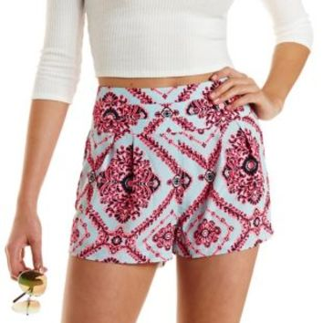Tile Print High-Waisted Shorts by Charlotte Russe
