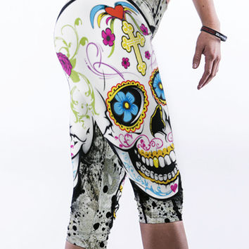 Skull Print Knee Length Leggings