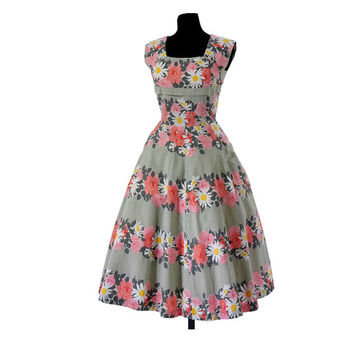 Woman long dress for wedding bridesmaid prom summer party with floral pattern vintage rockabilly 50s reproduction