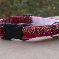 Kitty Bling - Pink and Gold Glitter Stripes - Breakaway Adjustable Cat Collar