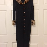 Vintage Dress, Faux Fur Leopard Print Collar And Cuffs, Brand POP STYLE, Made In USA, 1990's Dress With A 1950's Syle, Madmen, Wiggle Dress