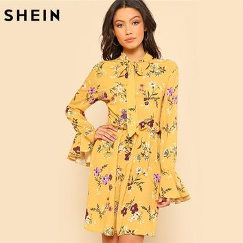SHEIN Yellow Dress Women Spring Dresses Casual Tie Neck Elastic Waist Floral Dress Ruffle Long Sleeve Shift Women Dresses