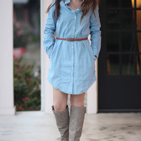 Chambray Dress - Light Wash