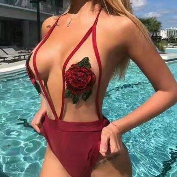 Swimwear Women 2017 New Swimsuit Rayon Sexy Sheer Mesh Chinese vintage style Appliques Floral One Piece Bandage bathing suit