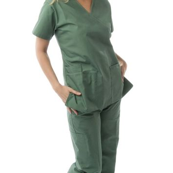 Women's Mock Wrap 2 Piece Medical Scrubs