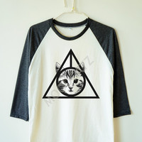 Deathly hallows cat shirt deathly hallows shirt harry potter shirt animal shirt baseball tshirt 3/4 long sleeve shirt women shirt men shirt