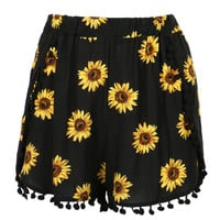 Black Sunflower Print High Waist Pom Poms Shorts