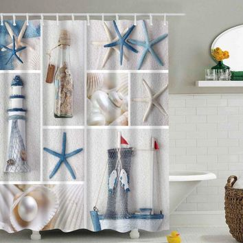 Bathroom Waterproof Shower Curtain Sea Shell Starfish Waterfall Scenery Bath Curtain cortina de bano with 12 Hooks