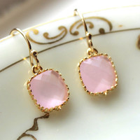 Opal Pink Earrings Gold Plated - Bridesmaid Earrings - Wedding Earrings - Wedding Jewelry - Bridal Earrings