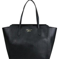 VONEF3L Gucci Women's Swing Black Leather Tote Bag Bag 354397
