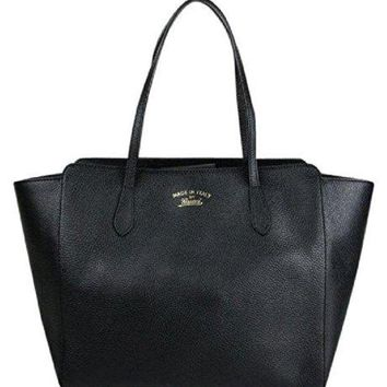 DCCKUG3 Gucci Women's Swing Black Leather Tote Bag Bag 354397