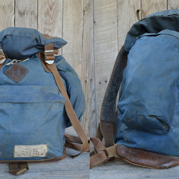 Vintage Brown Label THE NORTH FACE Mystic Blue Cordura & Leather Bottom Daypack Backpack