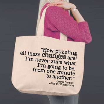 How Puzzling | Alice In Wonderland | Canvas Tote Bag