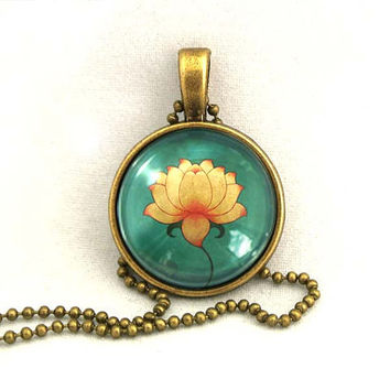 10% SALE Necklace Zen Lotus, Art Pendant, Lotus Charm,Water Lily Gift