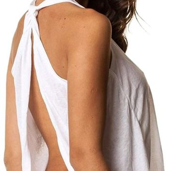 Open Back Tank Top Sexy Halter Knotted Tunic Backless Sport Blouse Shirt