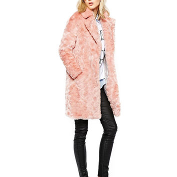 Pink Notched Collar Faux Fur Coat