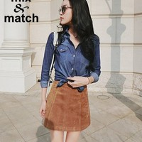 2015 Autumn Winter Vintage Skirts Flare Suede Mini Skirts A line Back Zipper Retro Casual Suede Skirts SK08801-in Skirts from Women's Clothing & Accessories on Aliexpress.com   Alibaba Group