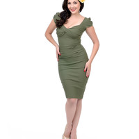 Stop Staring! 1940s Style Olive Green Billion Dollar Baby Wiggle Dress
