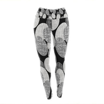 "Jacqueline Milton ""Seeds - Monochrome"" Black White Yoga Leggings"