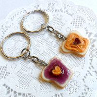 Peanut Butter and Jelly Heart Keychain Set, Grape, Best Friend's Keychains, Cute :D