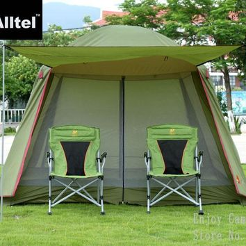 high quality double layer ultralarge 4-8 person family party camping tent gazebo