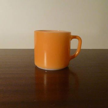 Vintage 1960 Orange Federal F-Stamped Milk Glass Heat Proof Coffee Mug / Retro Large White Glass Handled Cup / Tea Cup / Hot Chocolate Mug