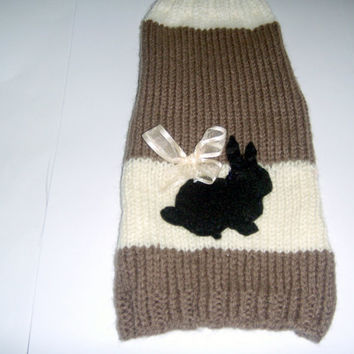 Easter Bunnies dog Sweater, Easter Bunnies Cat Sweater, Unisex small dog coat knitted in Brown and Cream