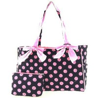 Cute! Quilted Polka Dot Print Baby Girl Diaper Bag Tote Purse (Black/Pink)