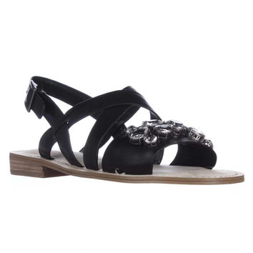BCBGeneration Remmy Jeweled Flat Sandals, Black, 6.5 US