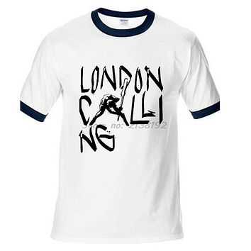 London calling to the far away towns here is the riot punk the clash rock t shirt men raglan sleeve casual style male top tees