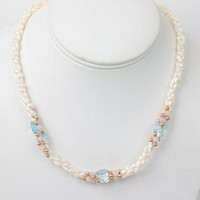 Freshwater Pearl Necklace Blue Glass Beads Rose Quartz Gold Tone Bead Necklace Vintage
