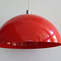 Vintage Mod Red Plastic and Chrome Pendant Lamp