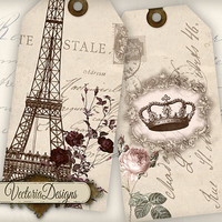 Paris Tags printable gift tags digital Collage Sheet 377