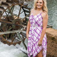 Magenta Plaid Tapered Dress